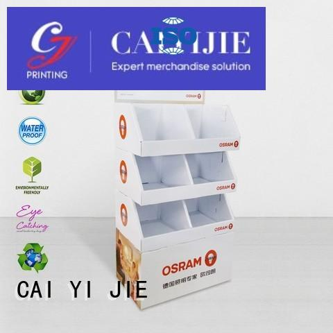 stair custom cardboard display stands tiers for led light CAI YI JIE