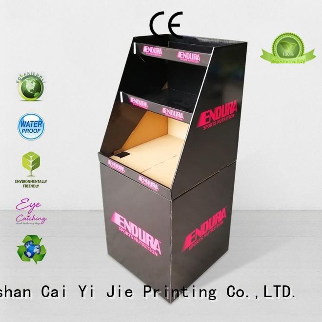 CAI YI JIE cheap price cardboard bins for sale floor standing for retail product