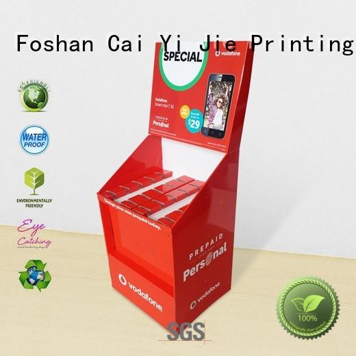 shelves cardboard free standing display units stair for phone accessories CAI YI JIE