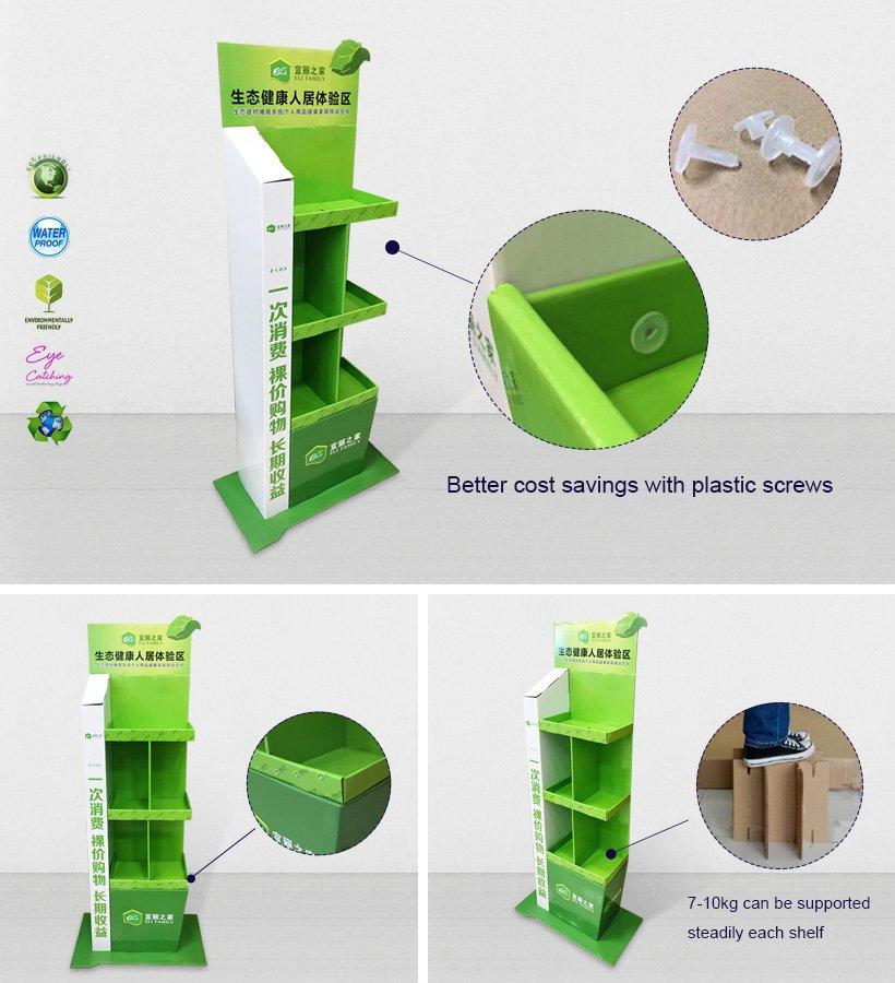 4 Shelves Cardboard Display Stand for Cosmetics Products